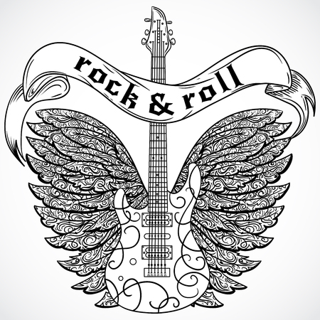 heavy metal music: Rock and roll. Vintage poster with electric guitar, ornate wings and ribbon banner. Retro vector illustration. Design, retro card, print, t-shirt, postcard, tattoo