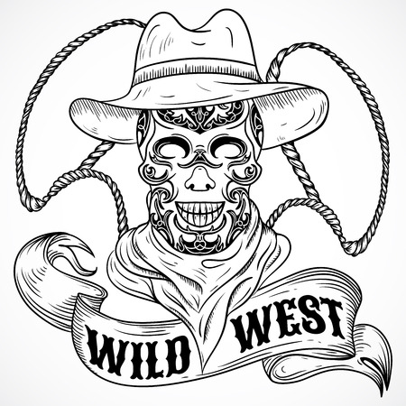 scull: Wild west. Vintage poster with scull cowboy, lasso and ribbon banner .Retro hand drawn vector illustration in sketch style Illustration
