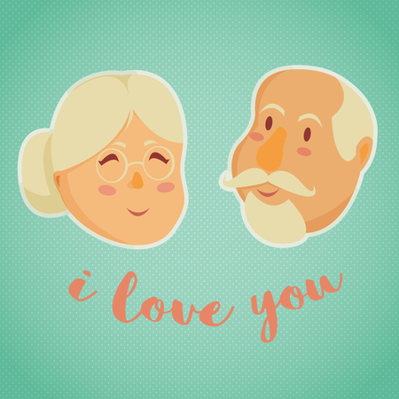 happy mature couple: Happy grandparents. Vector illustration in cartoon style