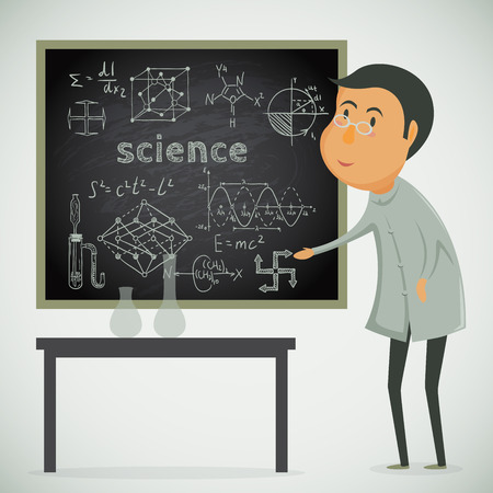 Scientist with chalk board in laboratory. Vector cartoon illustration Illustration