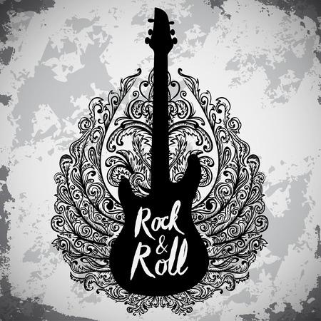 Vintage hand getekende poster met elektrische gitaar, sierlijke vleugels en belettering rock and roll op grunge achtergrond. Retro vector illustratie. Ontwerp, retro-kaart, print, t-shirt, een ansichtkaart