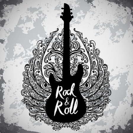 Vintage hand drawn poster with electric guitar, ornate wings and lettering rock and roll on grunge background. Retro vector illustration. Design, retro card, print, t-shirt, postcard