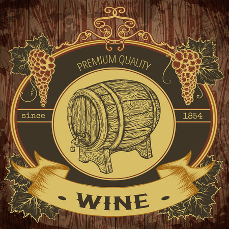 Vintage label with wine barrel and bunch of grapes on wooden background. Isolated elements. Retro hand drawn vector illustration