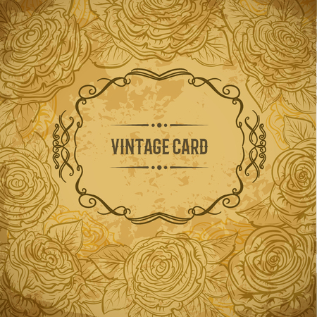 aged paper: Vintage design cover card with roses and leaves on aged paper background. Retro hand drawn vector illustration. Isolated elements. Mothers day, wedding invitation, save the date, birthday Illustration