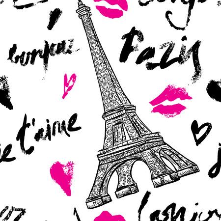 Parijs. Vintage naadloze patroon met Eiffeltoren en met de hand getekende letters. Retro hand getekende vector illustratie. Stock Illustratie