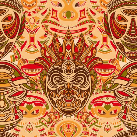 部族マスクのコレクションとのシームレスなパターン。レトロなカラフルな非常に詳細な手描きのベクトル図