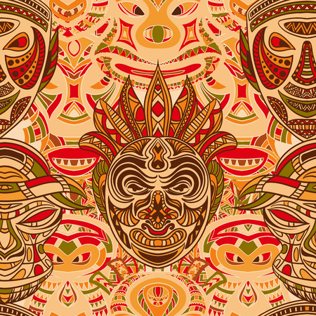 tiki head: Seamless pattern with collection of Tribal mask. Retro colorful highly detailed hand drawn vector illustration Illustration