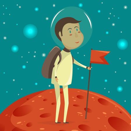 science icons: Spaceman with banner. Space concept. Vector cartoon illustration