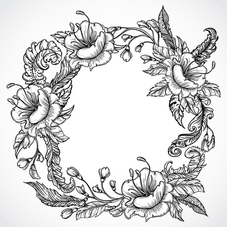 vintage ornament: Vintage floral highly detailed hand drawn wreath of flowers and feathers.Retro banner, invitation, wedding card, scrap booking. Isolated objects. Stock vector illustration