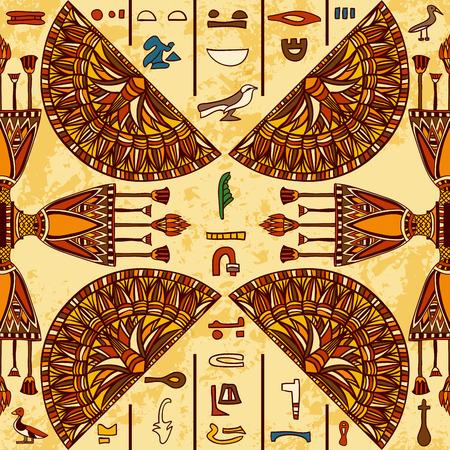 Egipto ornamento colorido con antiguos jeroglíficos egipcios en el fondo de papel envejecido. patrón transparente. dibujado a mano ilustración