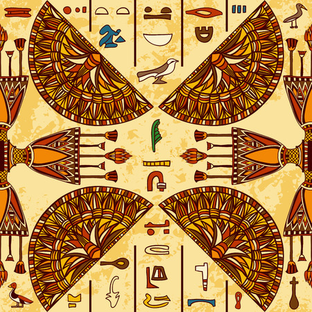 manuscript: Egypt colorful ornament with ancient Egyptian hieroglyphs on aged paper background. seamless pattern. Hand drawn illustration