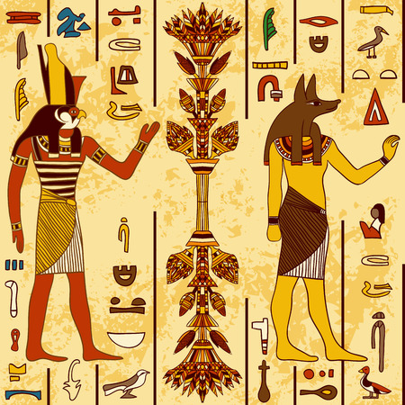 Modelo inconsútil con los dioses egipcios y los jeroglíficos egipcios antiguos en el grunge fondo de papel envejecido. Ejemplo dibujado a mano retro