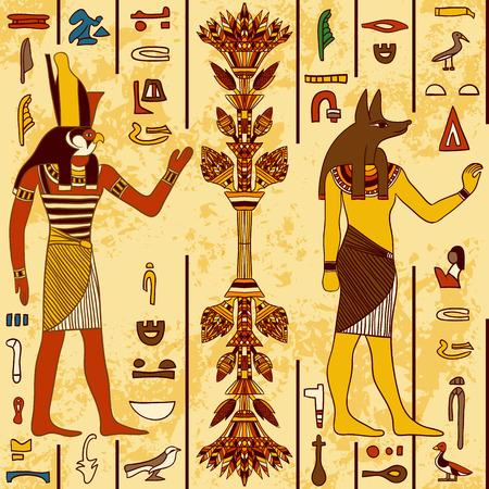 mano de dios: Modelo inconsútil con los dioses egipcios y los jeroglíficos egipcios antiguos en el grunge fondo de papel envejecido. Ejemplo dibujado a mano retro