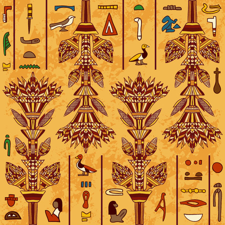 egyptian culture: Egypt colorful ornament with ancient Egyptian hieroglyphs on aged paper background. seamless pattern. Hand drawn illustration