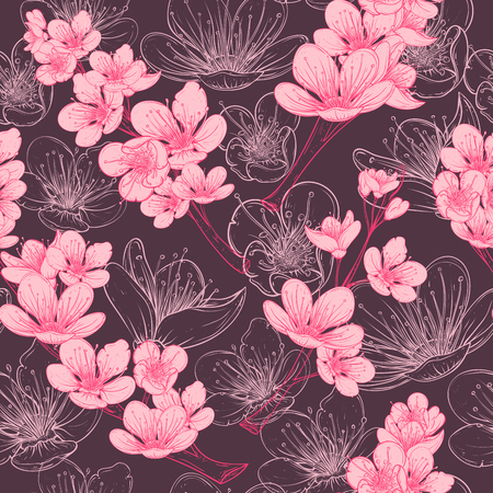 Seamless pattern with cherry tree blossom. Vintage hand drawn illustration in sketch style.