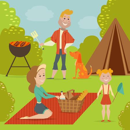family picnic: Family picnic. Bbq party concept. Cartoon illustration Illustration