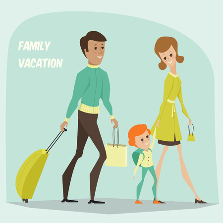 airport cartoon: Traveling family on vacation. Cartoon illustration Illustration