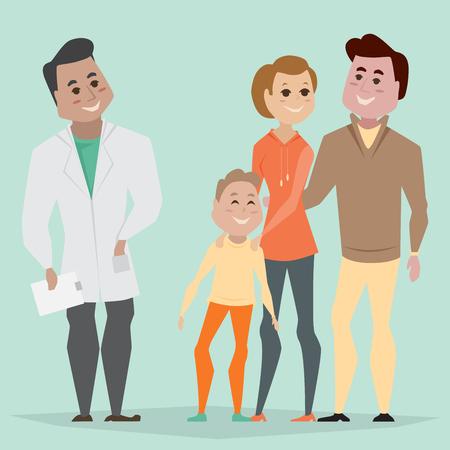Medico di famiglia e famiglia. Concetto di assistenza sanitaria familiare. Illustrazione del fumetto.