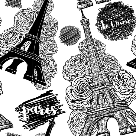 scribbles: Paris. Vintage seamless pattern with Eiffel Tower, roses and ink scribbles. Retro black and white hand drawn illustration.