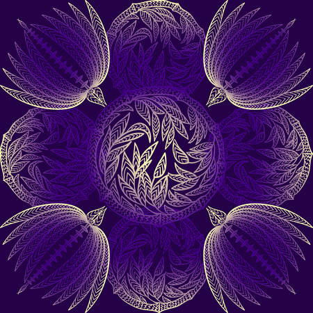 batik: Seamless ethnic pattern with floral geometric ornament in indigo colors. Vintage hand drawn illustration