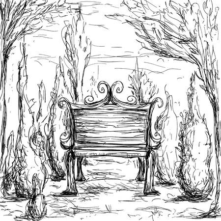 Banc de parc, arbres et buissons. Illustration dessiné à la main vintage en style croquis