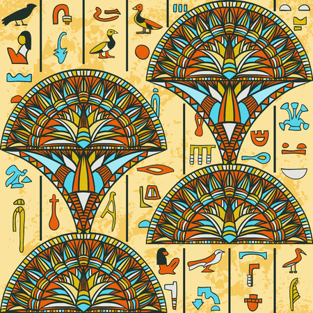 Egypt colorful ornament with ancient Egyptian hieroglyphs on aged paper background Vectores