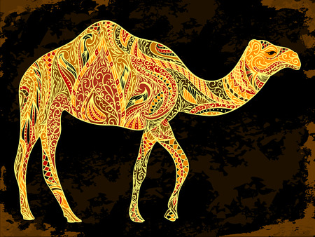 Camel decoration with oriental ornaments on black grunge background. Vintage hand drawn illustration