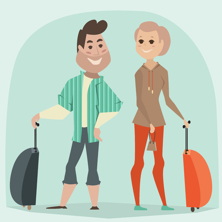 retro cartoon: Traveling couple. Cartoon illustration in retro style