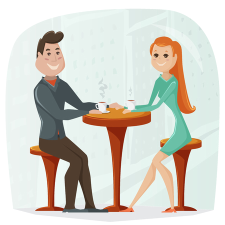 dinner date: Loving couple in a cafe. cartoon illustration in retro style