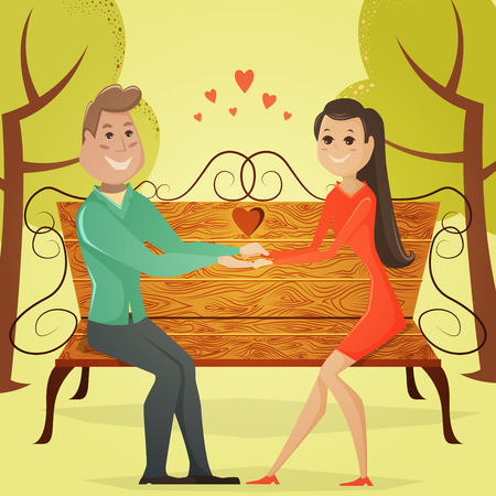 happy couple: Loving couple on a bench in the park. Cartoon illustration in retro style