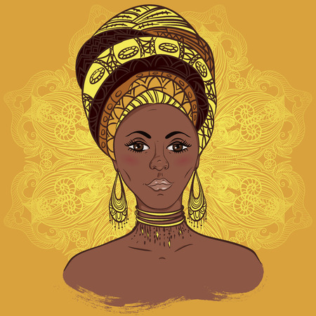 Beautiful African woman in turban over ornate mandala round pattern. Hand drawn vector illustration. Design, card, print, poster, postcard