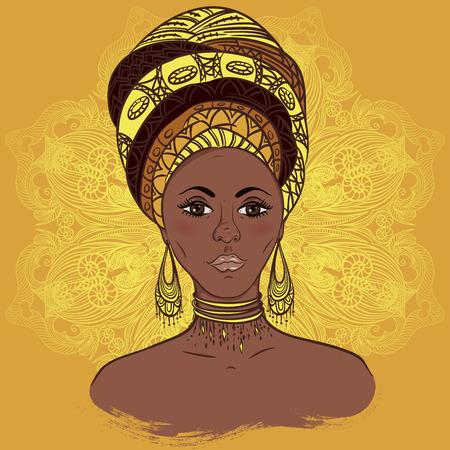 Hermosa mujer africana en el turbante sobre mandala modelo redondo adornado. Dibujado a mano ilustración vectorial. Diseño, tarjeta, impresión, cartel, postal