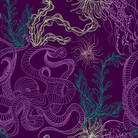 Seamless pattern with octopus, jellyfish, marine plants and seaweed. Vintage hand drawn vector illustration marine life. Design for summer beach, decorations,print,pattern fill, web surface