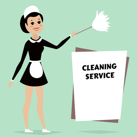 duster: Maid in classic maid dress with cleaning duster. Cleaning service advertisement with space for text. Retro cartoon vector Illustration. Illustration