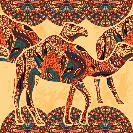 camel silhouette: Seamless pattern with camel decorated with oriental ornaments on grunge background. Vintage colorful hand drawn vector illustration Illustration