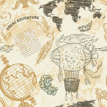 """Naadloos patroon met vintage globe, abstract kaart van de wereld, luchtschip, touw knopen, lint. Retro hand getekende vector illustratie """"Groot avontuur"""" in schets stijl met grunge achtergrond oud papier"""