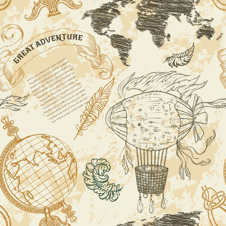 """mundo manos: Patrón sin fisuras con el globo de la vendimia, resumen mapa del mundo, dirigible, nudos de la cuerda, cinta. a mano ilustración retro vector dibujado """"gran aventura"""" en el estilo de dibujo con el fondo del grunge papel viejo"""