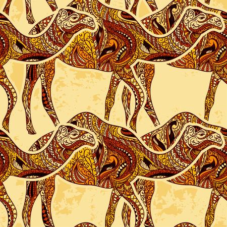 Nahtlose Muster mit Kamel dekoriert mit orientalischen Ornamenten und Ägypten bunten Blumen-Ornament auf Grunge Hintergrund. Weinlese-bunte Hand gezeichnete Vektor-Illustration
