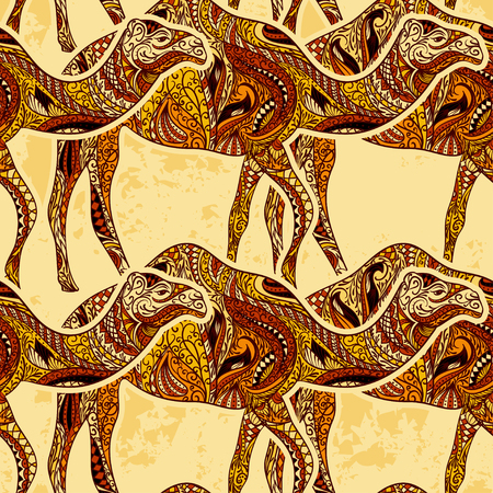 Seamless pattern with camel decorated with oriental ornaments and Egypt colorful floral ornament on grunge background. Vintage colorful hand drawn vector illustration Illustration