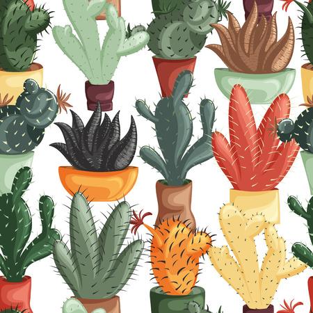 多肉植物とサボテンのポットでのシームレスなパターン。かわいい花柄のベクトル植物のグラフィックを設定します。