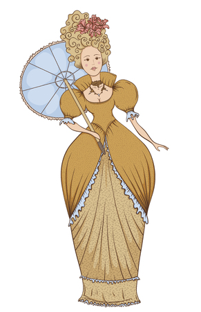 19th century style: Beautiful woman in vintage dress with umbrella in Baroque style. Hand drawn vector illustration in retro style