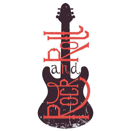 Vintage hand drawn poster with electric guitar and lettering rock and roll on grunge background. Retro vector illustration. Design, retro card, print, t-shirt, postcard  イラスト・ベクター素材