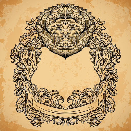 aged paper: Antique border frame engraving with lion head and baroque cartouche ornament. Isolated elements. Vintage design decorative element in baroque style on aged paper. Retro hand drawn vector illustration Illustration