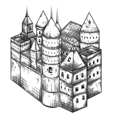 Fairy medieval castle. Vintage black and white hand drawn vector illustration Vetores