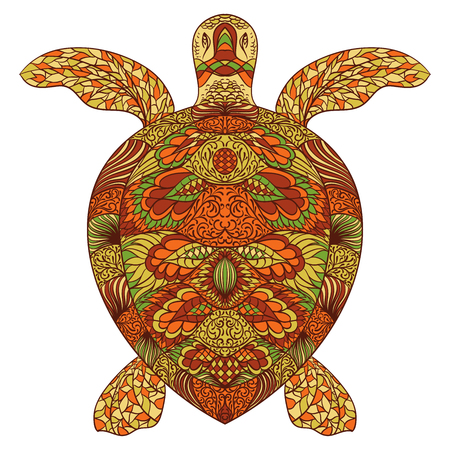 Turtle decorated with oriental ornaments. Vintage colorful hand drawn vector illustration Illustration