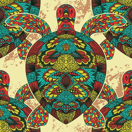 Turtle decorated with oriental ornaments. Vintage colorful seamless pattern. Hand drawn vector illustration