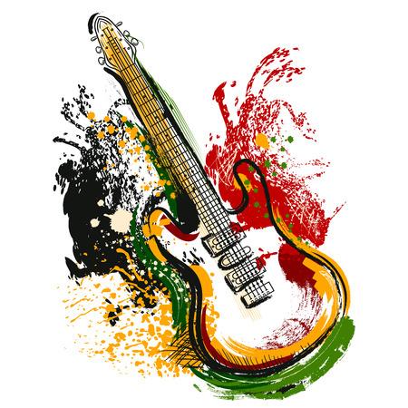 Guitarra eléctrica. dibujado a mano del arte del estilo del grunge. Bandera retra, tarjeta, camiseta, bolso, impresión, ilustración vectorial poster.Vintage colorido dibujado a mano