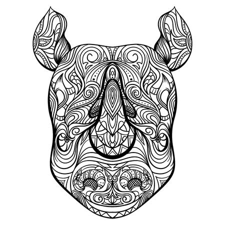 Principal del rinoceronte con el ornamento. arte del tatuaje. Bandera retra, la tarjeta, la reserva de chatarra. camiseta, bolsa, tarjeta postal, ilustración vectorial poster.Highly detallado del vintage blanco y negro dibujado a mano Foto de archivo - 55587390