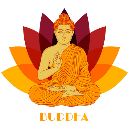 Sitting Buddha over lotus flower background. Hand drawn vector illustration.