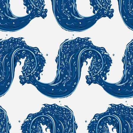 splashing water: Seamless pattern with waves of splashing water. Hand drawn vector illustration